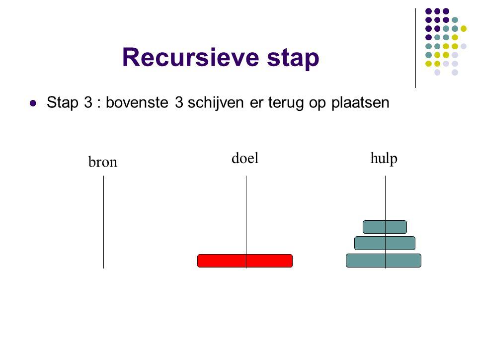 Recursieve stap Stap 3 : bovenste 3 schijven er terug op plaatsen bron doelhulp