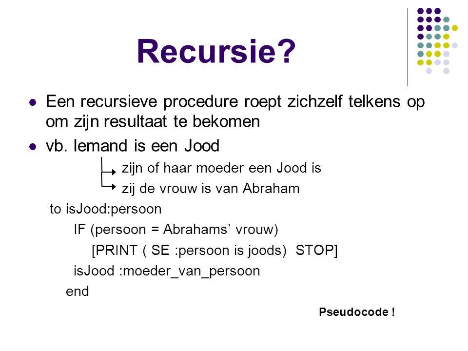 Recursie? Een recursieve procedure roept zichzelf telkens op om zijn resultaat te bekomen vb. Iemand is een Jood zijn of haar moeder een Jood is zij d