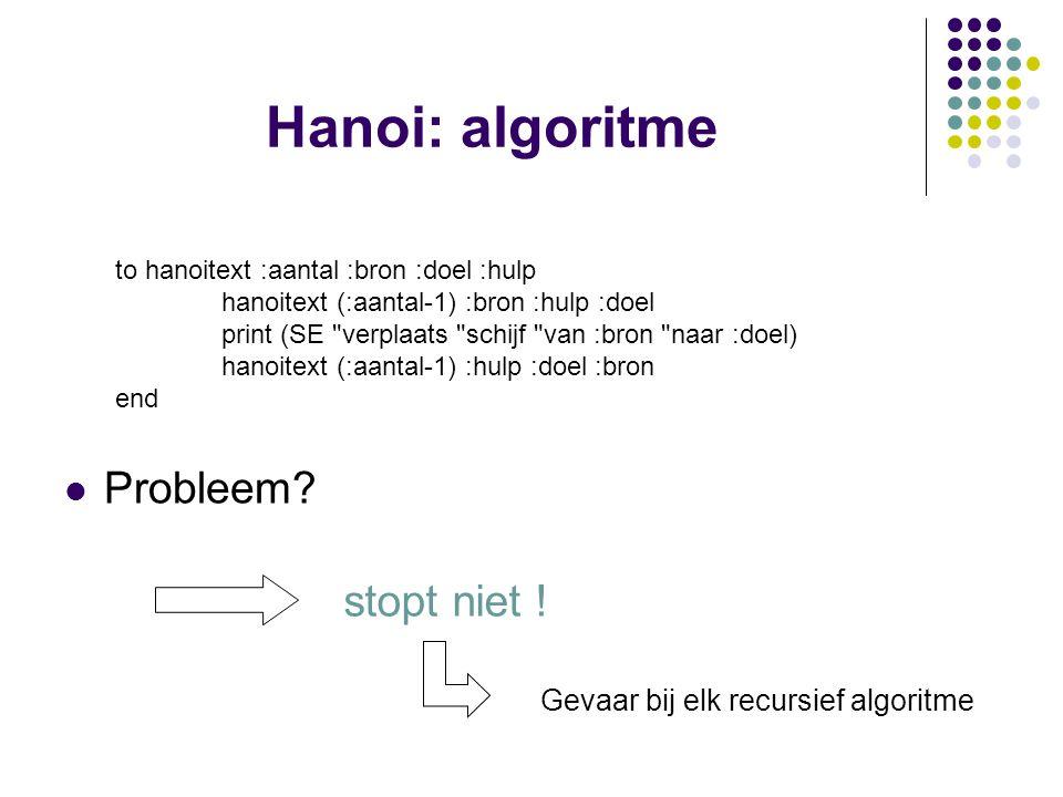 Hanoi: algoritme Probleem? to hanoitext :aantal :bron :doel :hulp hanoitext (:aantal-1) :bron :hulp :doel print (SE