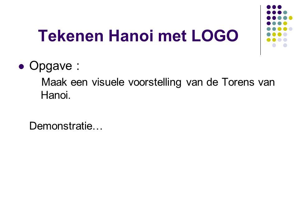 Tekenen Hanoi met LOGO Opgave : Maak een visuele voorstelling van de Torens van Hanoi. Demonstratie…