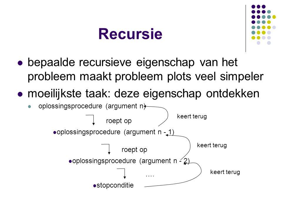 Recursie bepaalde recursieve eigenschap van het probleem maakt probleem plots veel simpeler moeilijkste taak: deze eigenschap ontdekken oplossingsproc