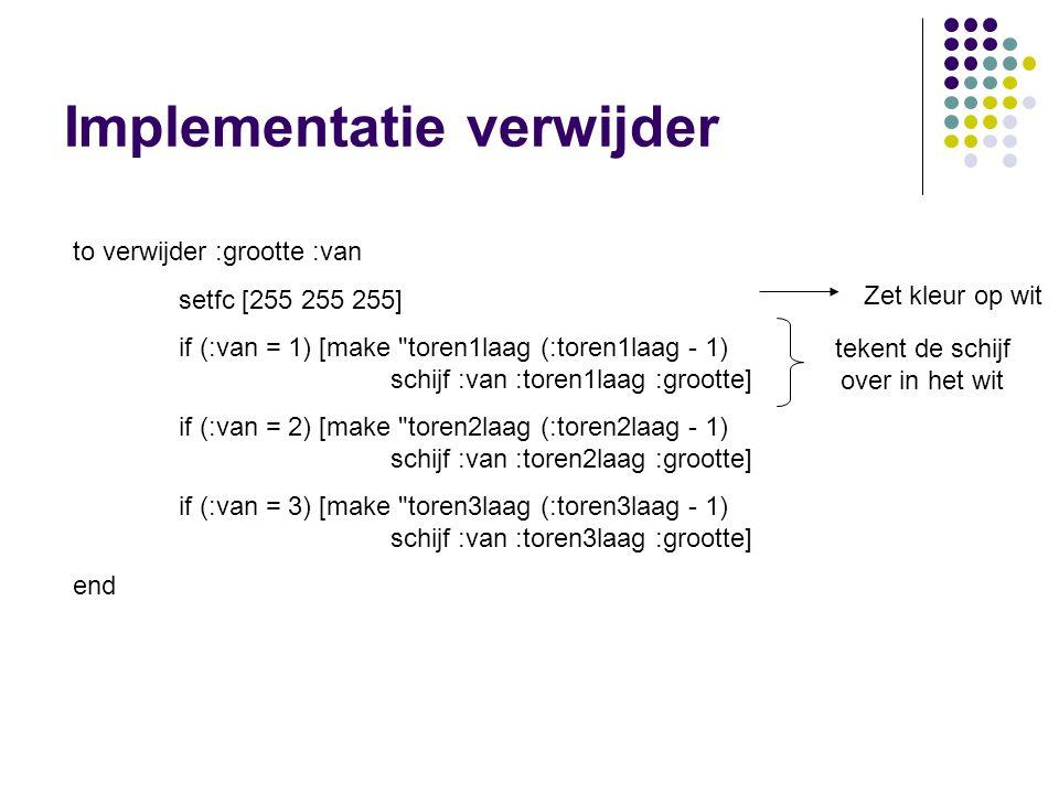 Implementatie verwijder to verwijder :grootte :van setfc [255 255 255] if (:van = 1) [make