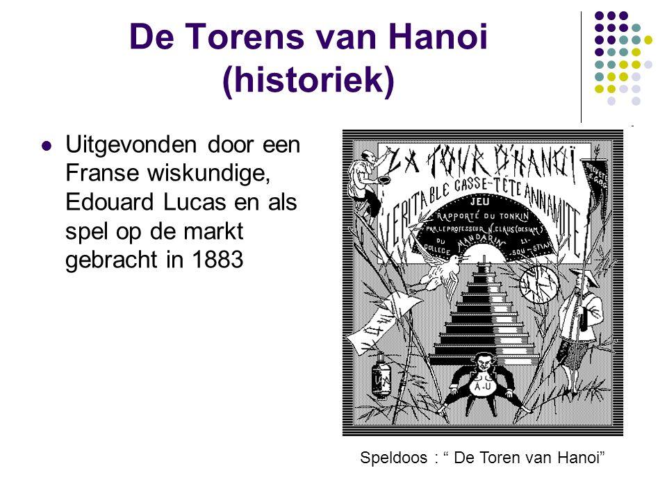"""De Torens van Hanoi (historiek) Uitgevonden door een Franse wiskundige, Edouard Lucas en als spel op de markt gebracht in 1883 Speldoos : """" De Toren v"""