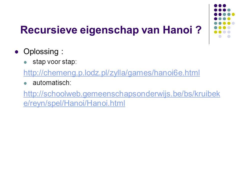 Recursieve eigenschap van Hanoi ? Oplossing : stap voor stap: http://chemeng.p.lodz.pl/zylla/games/hanoi6e.html automatisch: http://schoolweb.gemeensc