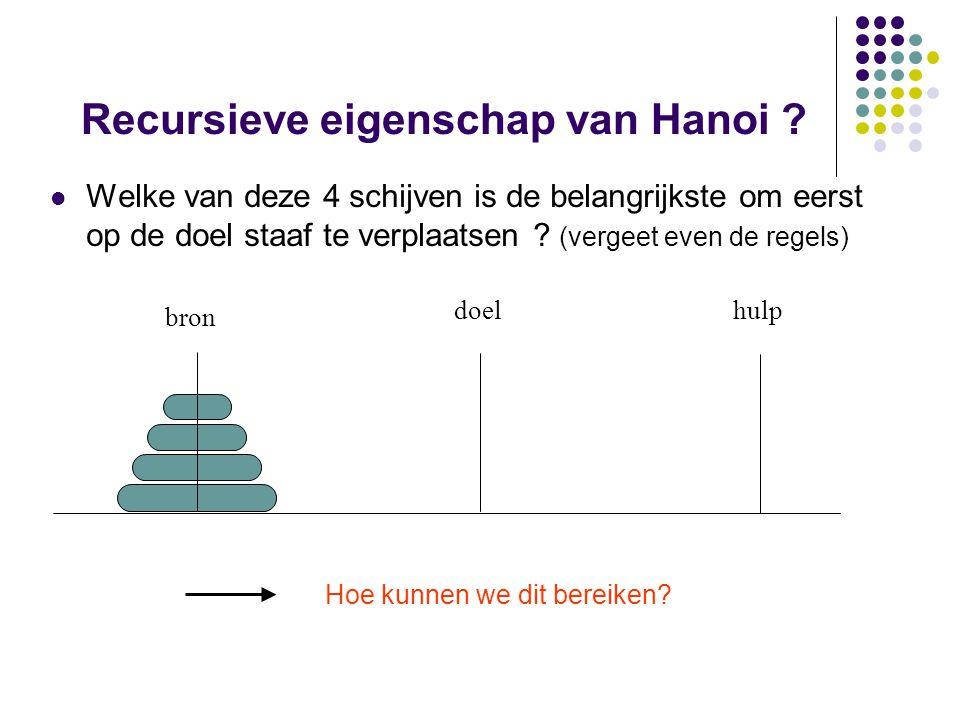 Recursieve eigenschap van Hanoi ? Welke van deze 4 schijven is de belangrijkste om eerst op de doel staaf te verplaatsen ? (vergeet even de regels) br