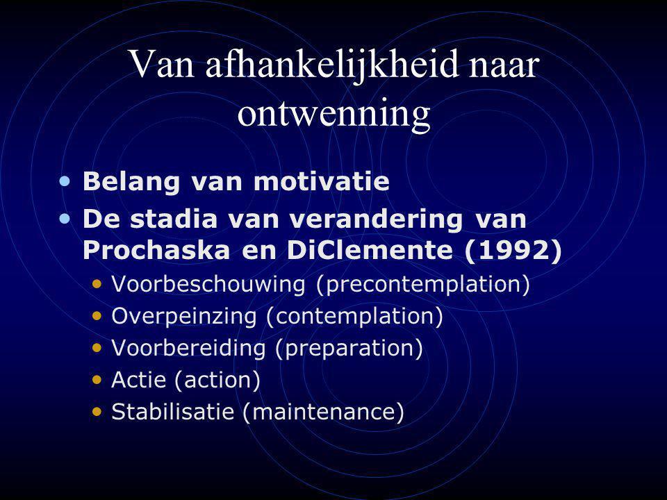 Van afhankelijkheid naar ontwenning Belang van motivatie De stadia van verandering van Prochaska en DiClemente (1992) Voorbeschouwing (precontemplation) Overpeinzing (contemplation) Voorbereiding (preparation) Actie (action) Stabilisatie (maintenance)