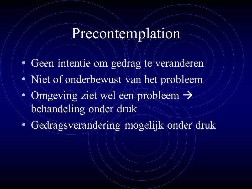 Precontemplation Geen intentie om gedrag te veranderen Niet of onderbewust van het probleem Omgeving ziet wel een probleem  behandeling onder druk Gedragsverandering mogelijk onder druk