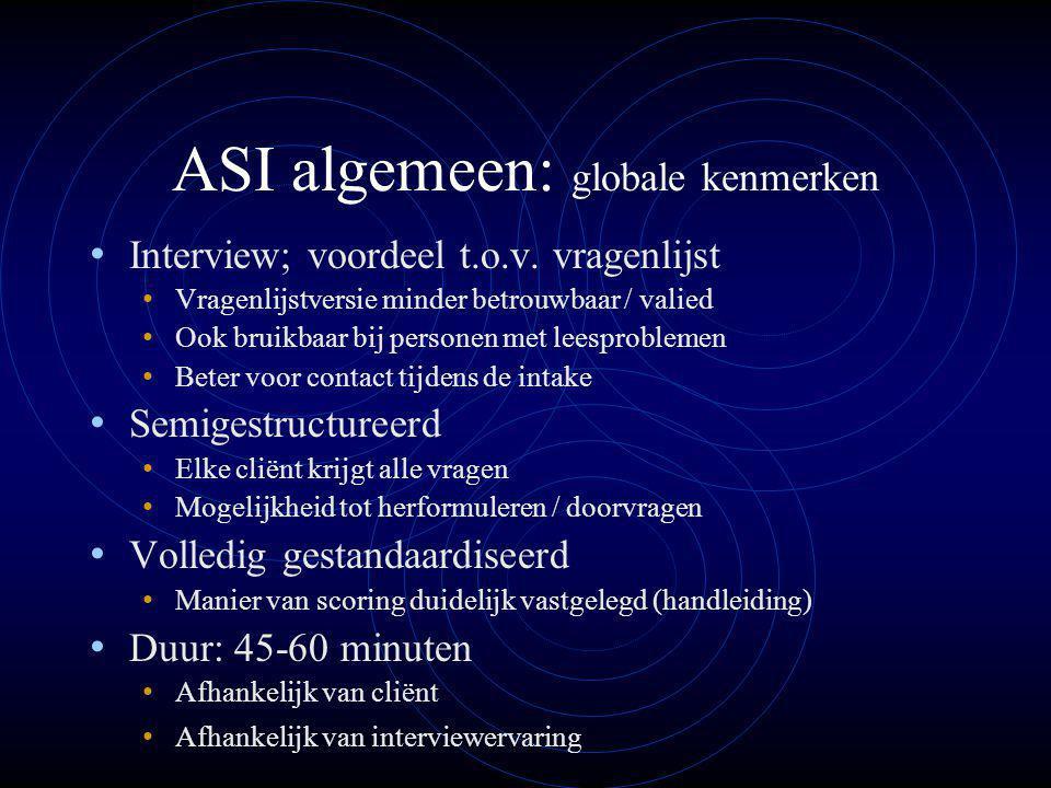 ASI algemeen: globale kenmerken Interview; voordeel t.o.v.