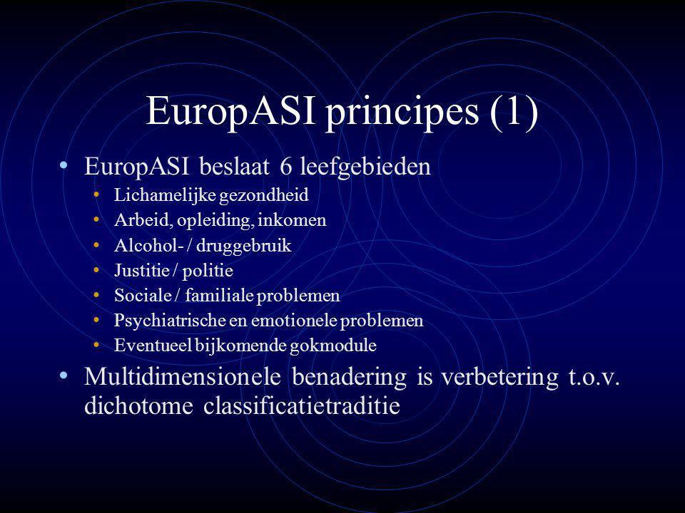 EuropASI principes (1) EuropASI beslaat 6 leefgebieden Lichamelijke gezondheid Arbeid, opleiding, inkomen Alcohol- / druggebruik Justitie / politie Sociale / familiale problemen Psychiatrische en emotionele problemen Eventueel bijkomende gokmodule Multidimensionele benadering is verbetering t.o.v.