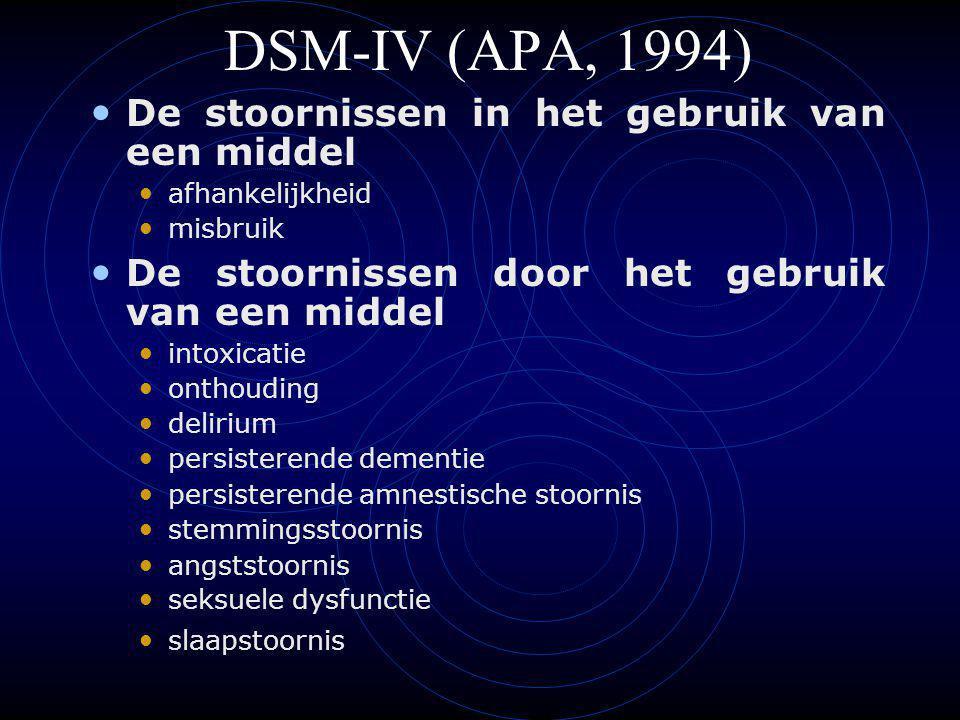 DSM-IV (APA, 1994) De stoornissen in het gebruik van een middel afhankelijkheid misbruik De stoornissen door het gebruik van een middel intoxicatie onthouding delirium persisterende dementie persisterende amnestische stoornis stemmingsstoornis angststoornis seksuele dysfunctie slaapstoornis