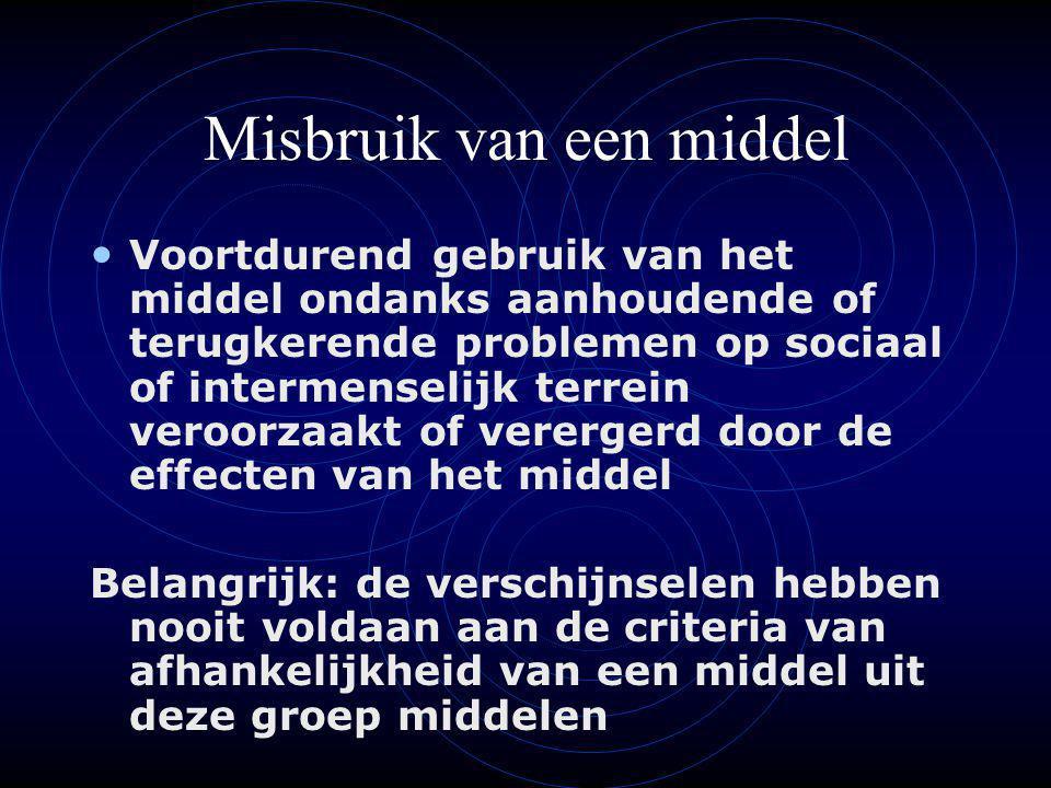 Fases in het afhankelijkheidsproces Belang van de drie M's (MENS, MIDDEL, MILIEU) Vier fases: Experimenteerfase Sociaal of geïntegreerd gebruik Overmatig en schadelijk gebruik Fase van afhankelijkheid Vier vicieuze cirkels (Van Dijk, 1973, 1980): lichamelijk, psychisch, sociaal en cerebraal
