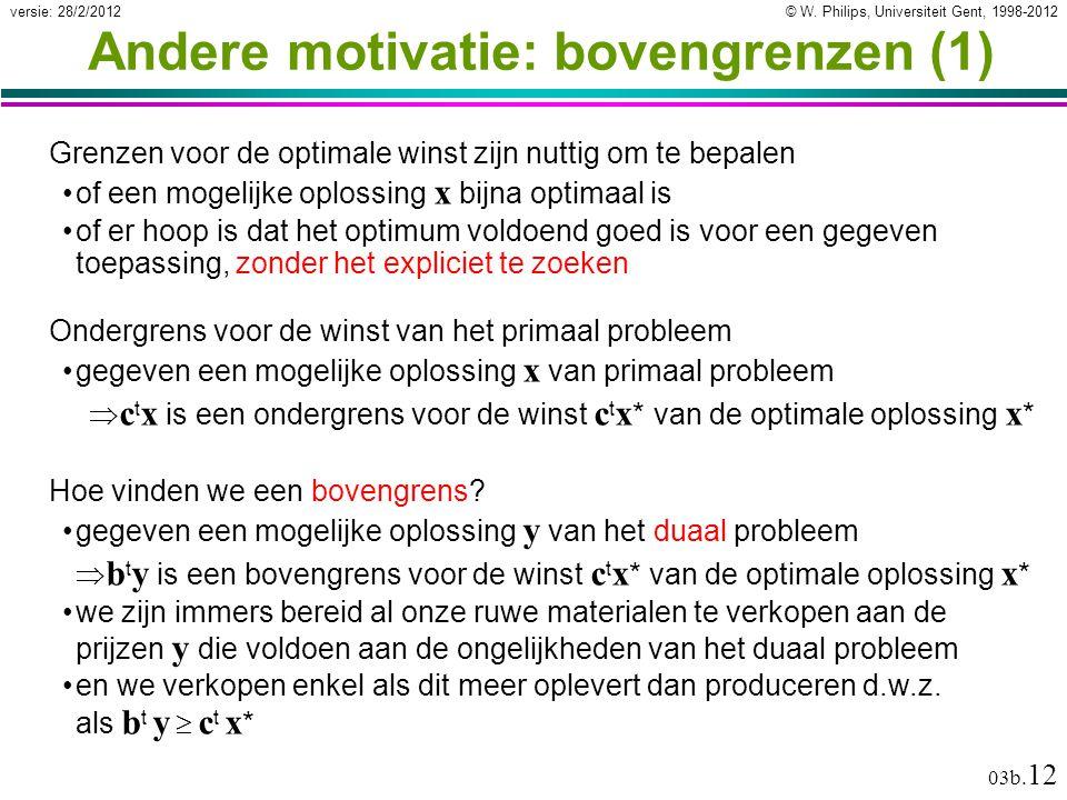 © W. Philips, Universiteit Gent, 1998-2012versie: 28/2/2012 03b. 12 Andere motivatie: bovengrenzen (1) Grenzen voor de optimale winst zijn nuttig om t
