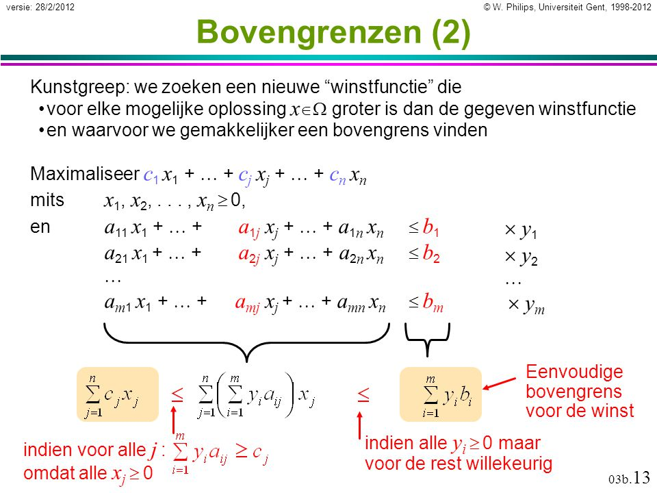 © W. Philips, Universiteit Gent, 1998-2012versie: 28/2/2012 03b. 13 Eenvoudige bovengrens voor de winst Bovengrenzen (2) Kunstgreep: we zoeken een nie