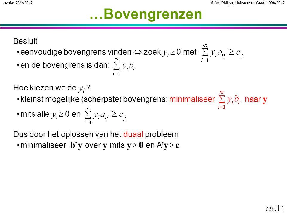 © W. Philips, Universiteit Gent, 1998-2012versie: 28/2/2012 03b. 14 Besluit eenvoudige bovengrens vinden  zoek y i  0 met …Bovengrenzen en de boveng