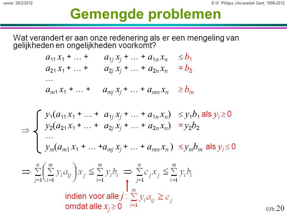 © W. Philips, Universiteit Gent, 1998-2012versie: 28/2/2012 03b. 20 Gemengde problemen Wat verandert er aan onze redenering als er een mengeling van g