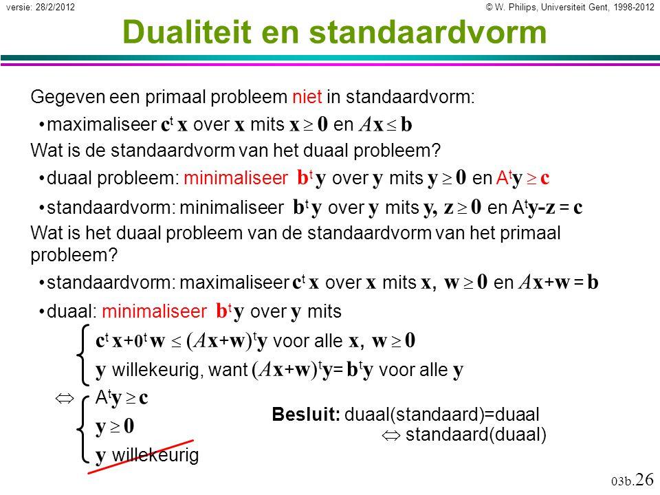 © W. Philips, Universiteit Gent, 1998-2012versie: 28/2/2012 03b. 26 Dualiteit en standaardvorm Gegeven een primaal probleem niet in standaardvorm: max