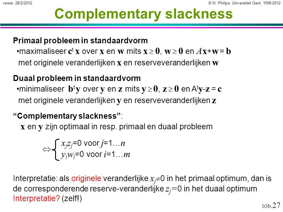 © W. Philips, Universiteit Gent, 1998-2012versie: 28/2/2012 03b. 27 Complementary slackness Primaal probleem in standaardvorm maximaliseer c t x over