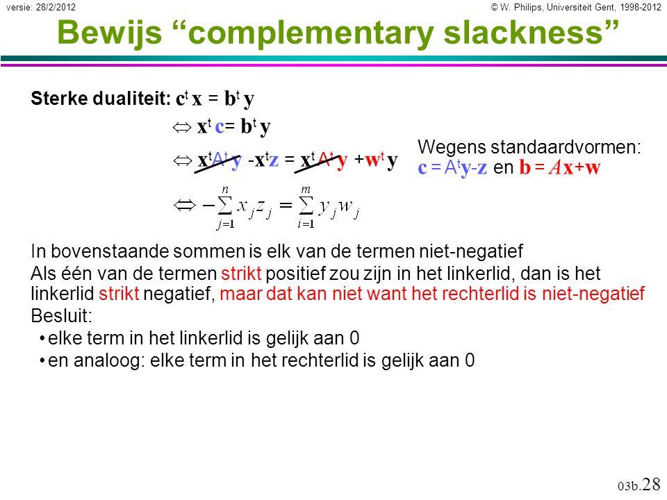 """© W. Philips, Universiteit Gent, 1998-2012versie: 28/2/2012 03b. 28 Bewijs """"complementary slackness"""" Sterke dualiteit: c t x = b t y In bovenstaande s"""