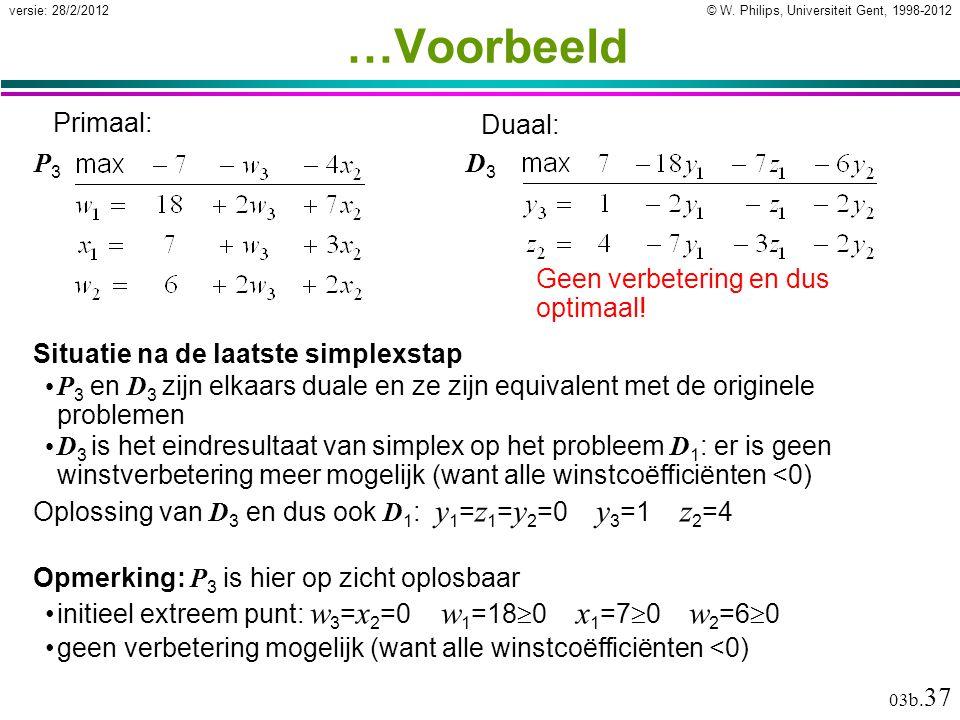 © W. Philips, Universiteit Gent, 1998-2012versie: 28/2/2012 03b. 37 …Voorbeeld Situatie na de laatste simplexstap P 3 en D 3 zijn elkaars duale en ze