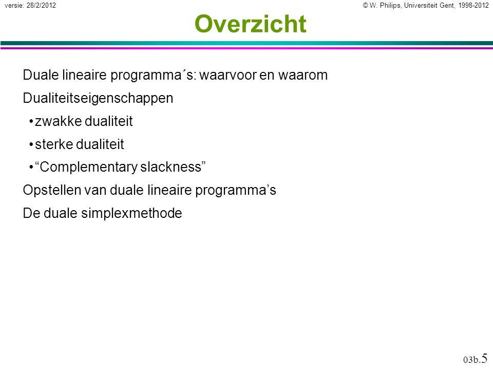 © W. Philips, Universiteit Gent, 1998-2012versie: 28/2/2012 03b. 5 Overzicht Duale lineaire programma´s: waarvoor en waarom Dualiteitseigenschappen zw