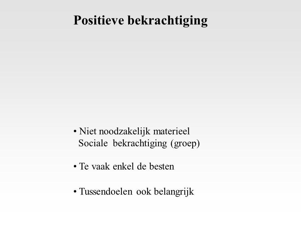 Positieve bekrachtiging Niet noodzakelijk materieel Sociale bekrachtiging (groep) Te vaak enkel de besten Tussendoelen ook belangrijk