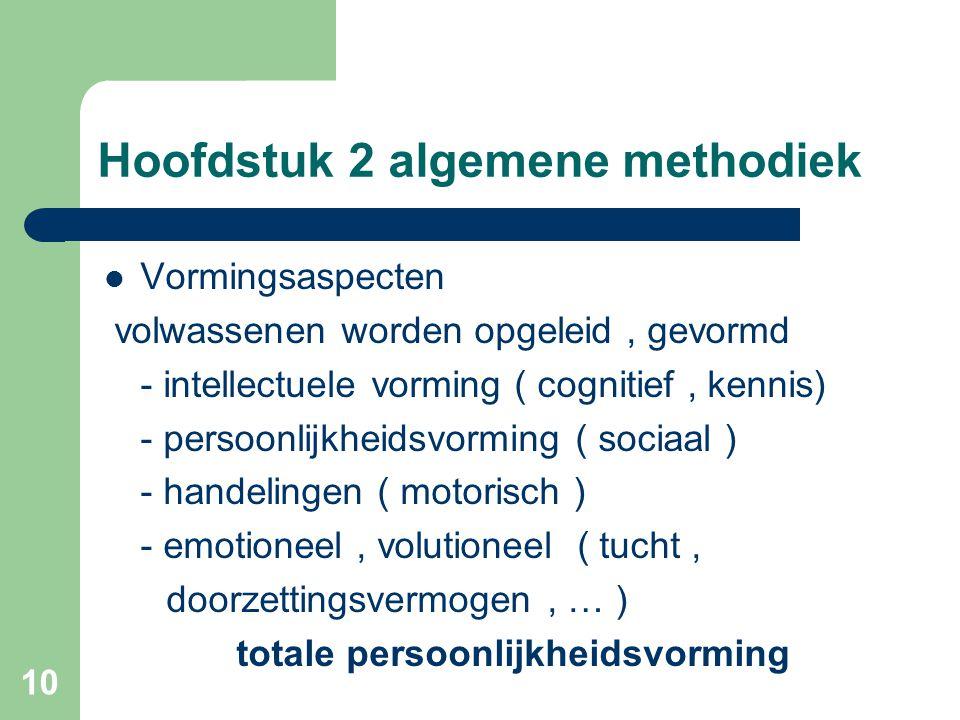 10 Hoofdstuk 2 algemene methodiek Vormingsaspecten volwassenen worden opgeleid, gevormd - intellectuele vorming ( cognitief, kennis) - persoonlijkheidsvorming ( sociaal ) - handelingen ( motorisch ) - emotioneel, volutioneel ( tucht, doorzettingsvermogen, … ) totale persoonlijkheidsvorming