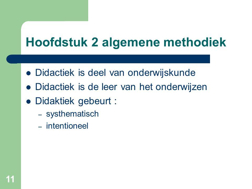 11 Hoofdstuk 2 algemene methodiek Didactiek is deel van onderwijskunde Didactiek is de leer van het onderwijzen Didaktiek gebeurt : – systhematisch – intentioneel