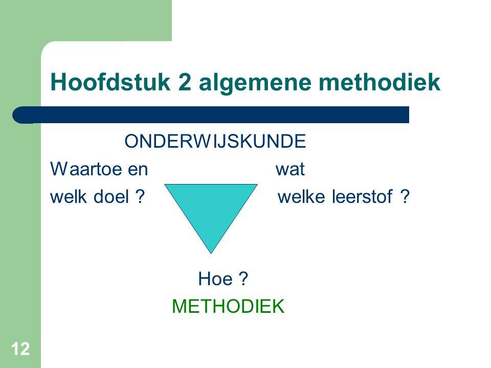 12 Hoofdstuk 2 algemene methodiek ONDERWIJSKUNDE Waartoe en wat welk doel .