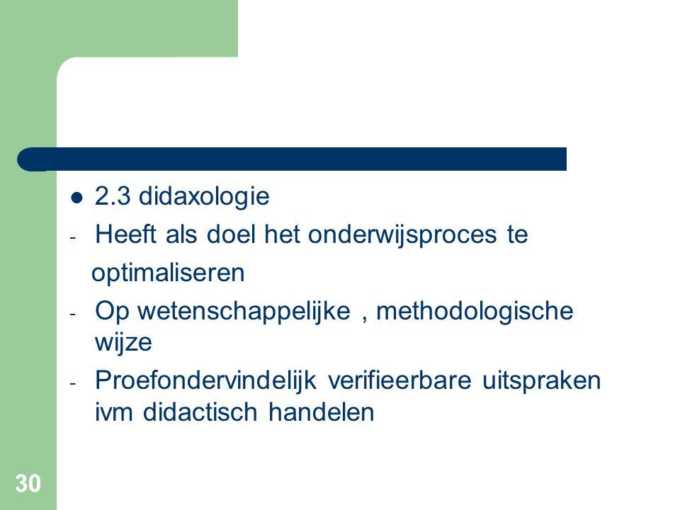 30 2.3 didaxologie - Heeft als doel het onderwijsproces te optimaliseren - Op wetenschappelijke, methodologische wijze - Proefondervindelijk verifieerbare uitspraken ivm didactisch handelen