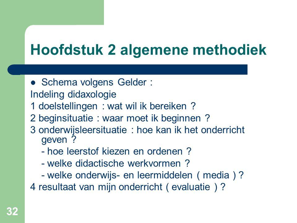 32 Hoofdstuk 2 algemene methodiek Schema volgens Gelder : Indeling didaxologie 1 doelstellingen : wat wil ik bereiken .