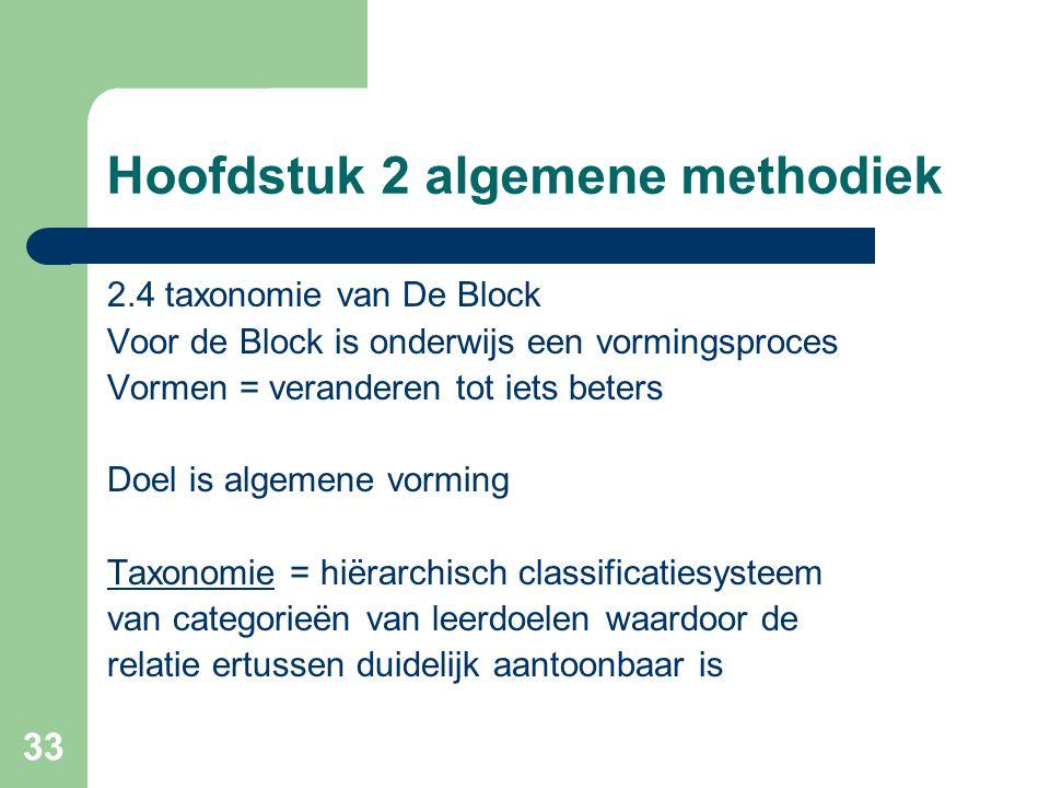 33 Hoofdstuk 2 algemene methodiek 2.4 taxonomie van De Block Voor de Block is onderwijs een vormingsproces Vormen = veranderen tot iets beters Doel is algemene vorming Taxonomie = hiërarchisch classificatiesysteem van categorieën van leerdoelen waardoor de relatie ertussen duidelijk aantoonbaar is