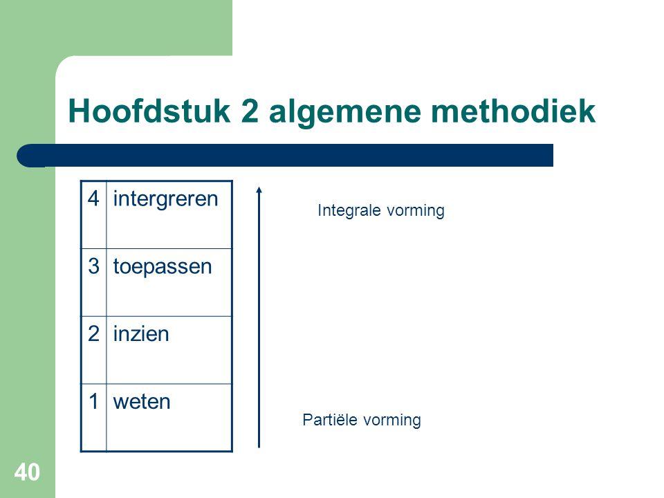 40 Hoofdstuk 2 algemene methodiek 4intergreren 3toepassen 2inzien 1weten Partiële vorming Integrale vorming