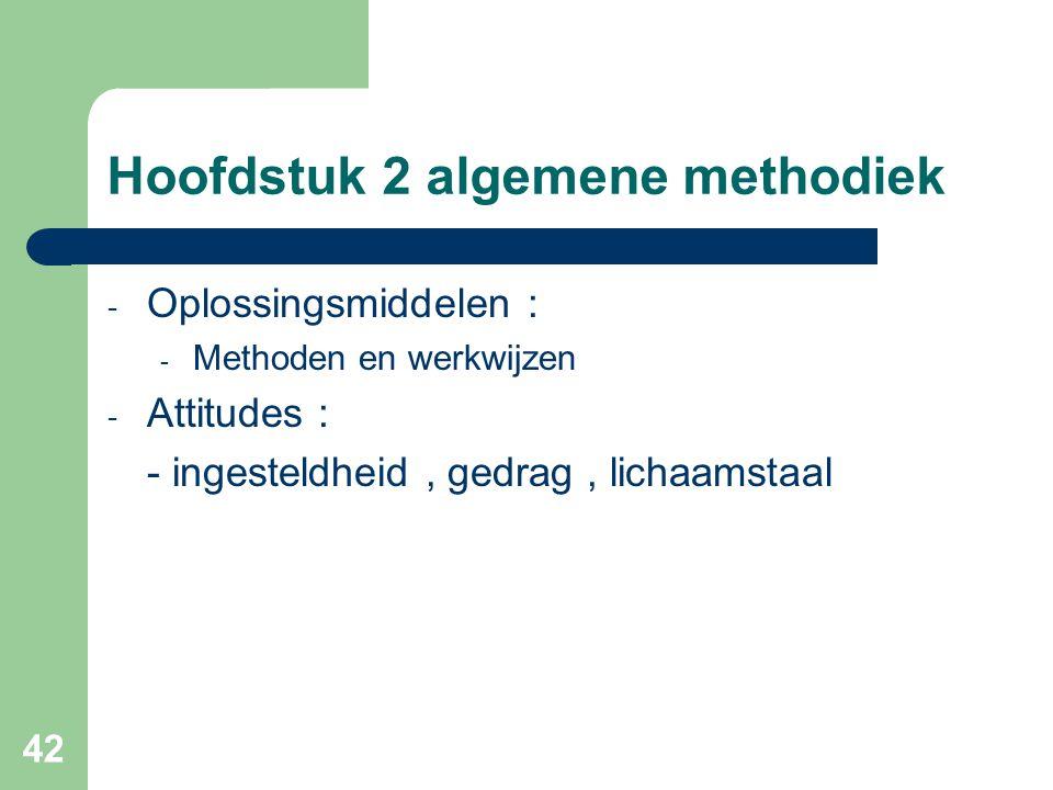 42 Hoofdstuk 2 algemene methodiek - Oplossingsmiddelen : - Methoden en werkwijzen - Attitudes : - ingesteldheid, gedrag, lichaamstaal