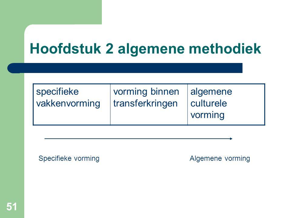 51 Hoofdstuk 2 algemene methodiek specifieke vakkenvorming vorming binnen transferkringen algemene culturele vorming Specifieke vormingAlgemene vorming