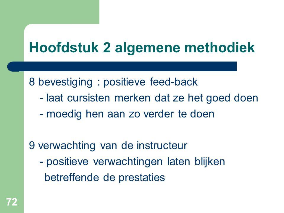 72 Hoofdstuk 2 algemene methodiek 8 bevestiging : positieve feed-back - laat cursisten merken dat ze het goed doen - moedig hen aan zo verder te doen 9 verwachting van de instructeur - positieve verwachtingen laten blijken betreffende de prestaties