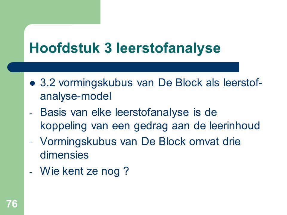 76 Hoofdstuk 3 leerstofanalyse 3.2 vormingskubus van De Block als leerstof- analyse-model - Basis van elke leerstofanalyse is de koppeling van een gedrag aan de leerinhoud - Vormingskubus van De Block omvat drie dimensies - Wie kent ze nog ?