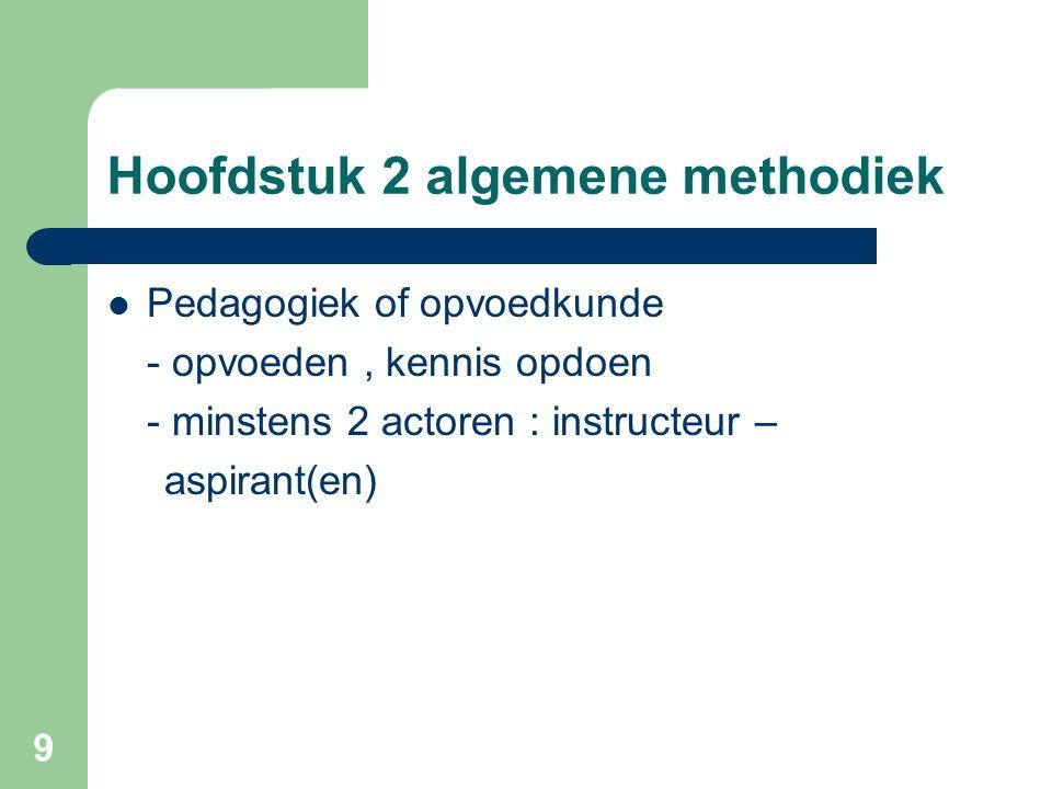 9 Hoofdstuk 2 algemene methodiek Pedagogiek of opvoedkunde - opvoeden, kennis opdoen - minstens 2 actoren : instructeur – aspirant(en)