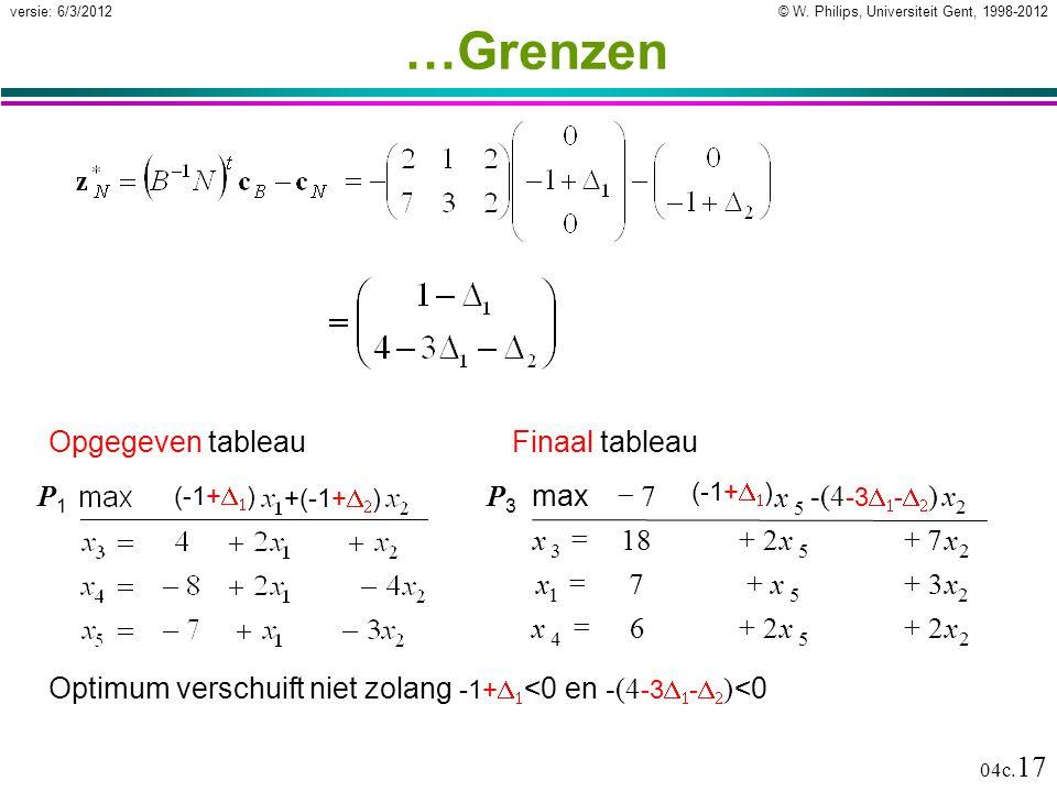 © W. Philips, Universiteit Gent, 1998-2012versie: 6/3/2012 04c. 17 …Grenzen Optimum verschuift niet zolang -1+   <0 en -(4 -3   -   ) <0 Opgegev