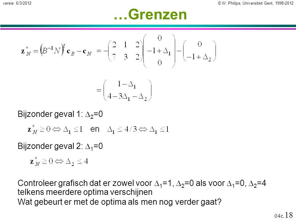 © W. Philips, Universiteit Gent, 1998-2012versie: 6/3/2012 04c. 18 …Grenzen Bijzonder geval 2:  1 =0 Controleer grafisch dat er zowel voor  1 =1, 