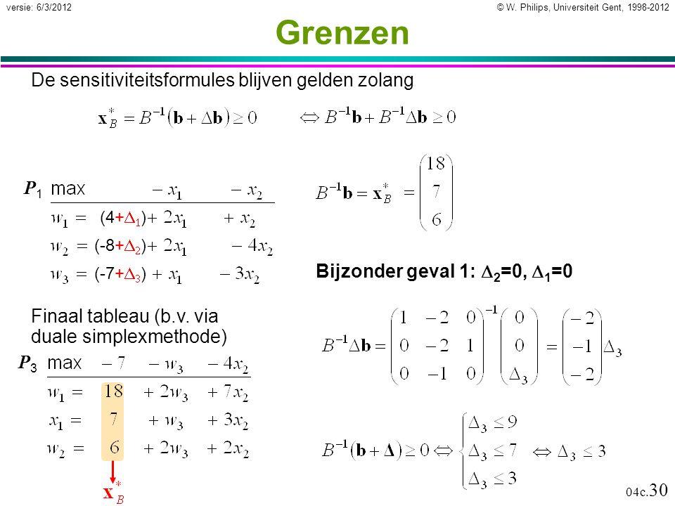 © W. Philips, Universiteit Gent, 1998-2012versie: 6/3/2012 04c. 30 Grenzen De sensitiviteitsformules blijven gelden zolang P1P1 P3P3 Finaal tableau (b
