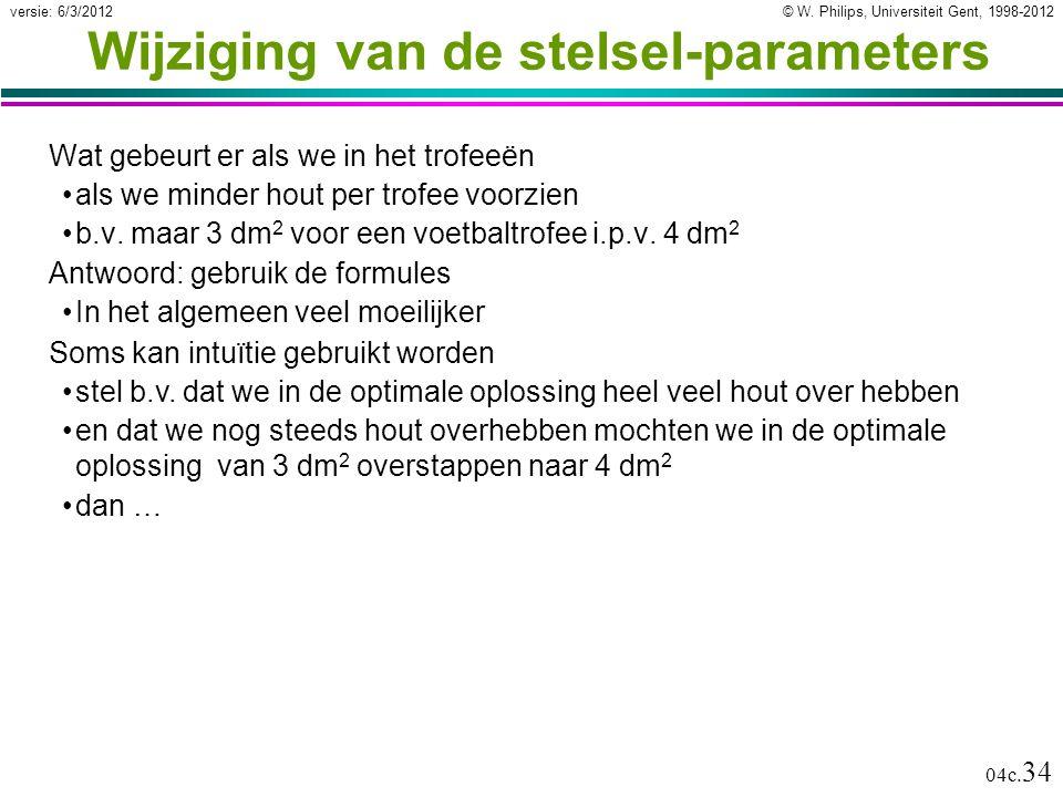 © W. Philips, Universiteit Gent, 1998-2012versie: 6/3/2012 04c. 34 Wijziging van de stelsel-parameters Wat gebeurt er als we in het trofeeën als we mi