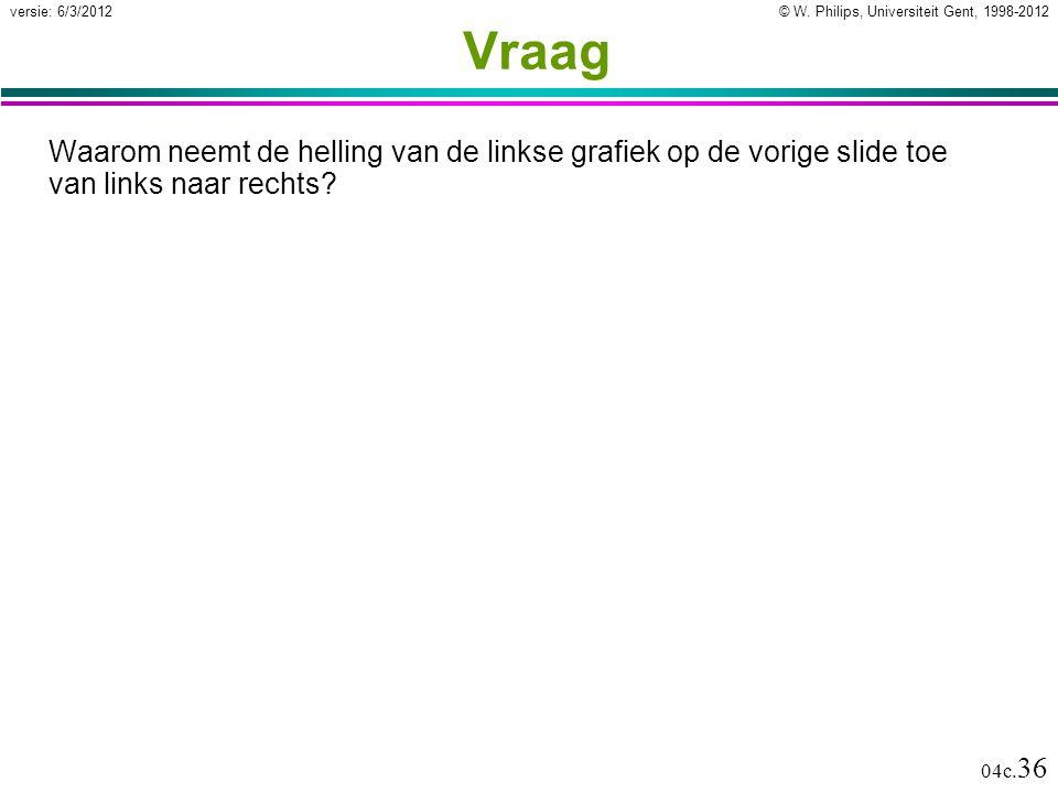 © W. Philips, Universiteit Gent, 1998-2012versie: 6/3/2012 04c. 36 Vraag Waarom neemt de helling van de linkse grafiek op de vorige slide toe van link