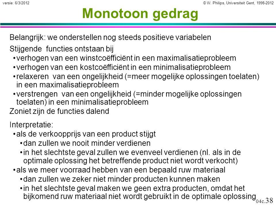 © W. Philips, Universiteit Gent, 1998-2012versie: 6/3/2012 04c. 38 Monotoon gedrag Belangrijk: we onderstellen nog steeds positieve variabelen Stijgen