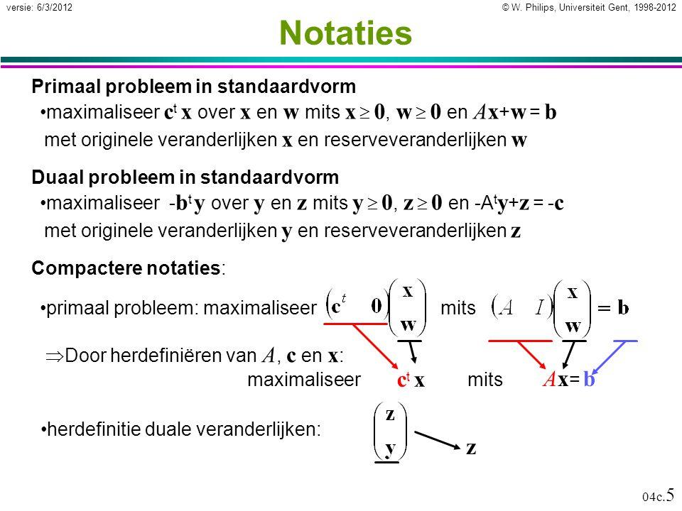 © W. Philips, Universiteit Gent, 1998-2012versie: 6/3/2012 04c. 5 Notaties Primaal probleem in standaardvorm maximaliseer c t x over x en w mits x  0