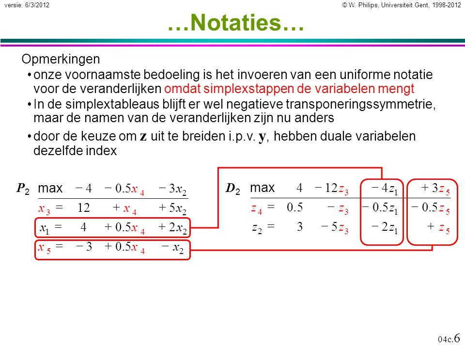 © W. Philips, Universiteit Gent, 1998-2012versie: 6/3/2012 04c. 6 …Notaties… Opmerkingen onze voornaamste bedoeling is het invoeren van een uniforme n