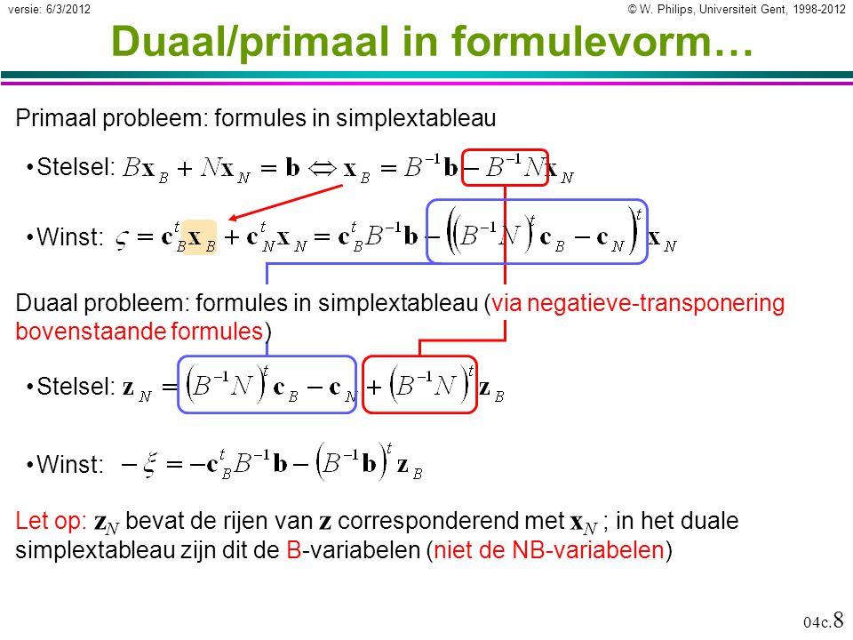 © W. Philips, Universiteit Gent, 1998-2012versie: 6/3/2012 04c. 8 Duaal/primaal in formulevorm… Winst: Primaal probleem: formules in simplextableau St