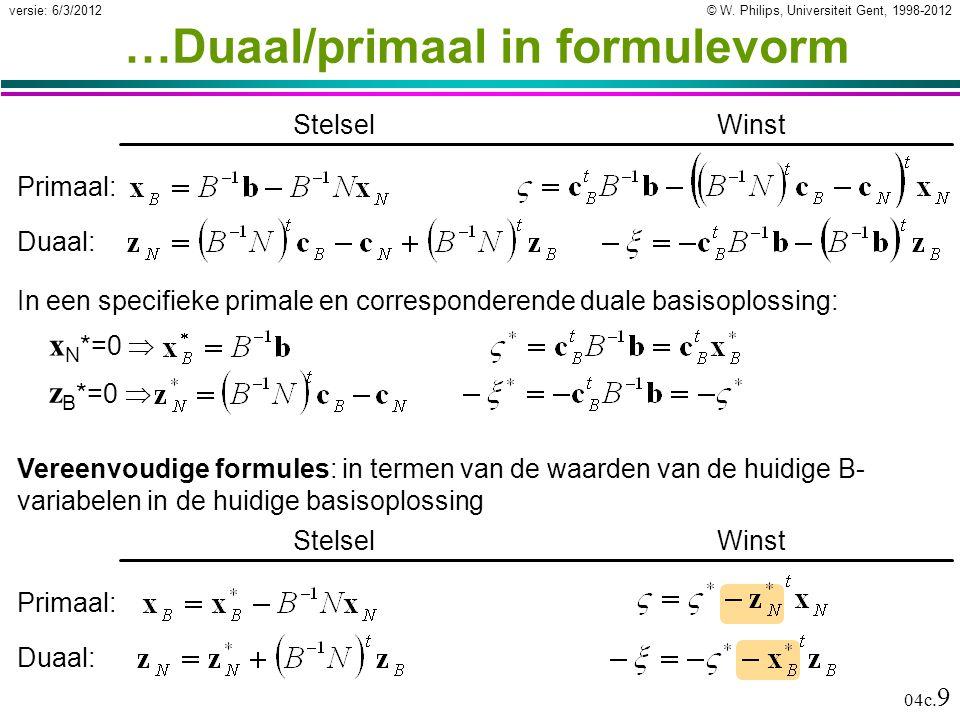 © W. Philips, Universiteit Gent, 1998-2012versie: 6/3/2012 04c. 9 …Duaal/primaal in formulevorm Winst Primaal: In een specifieke primale en correspond