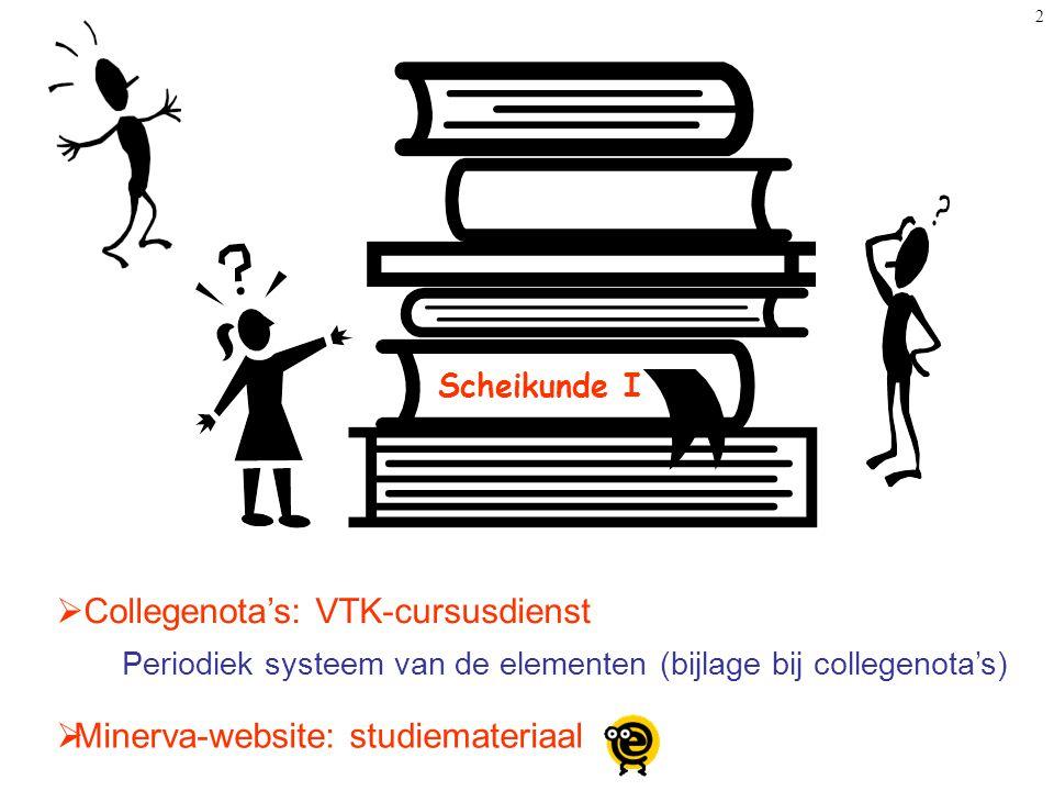 2 Scheikunde I  Collegenota's: VTK-cursusdienst  Minerva-website: studiemateriaal Periodiek systeem van de elementen (bijlage bij collegenota's)