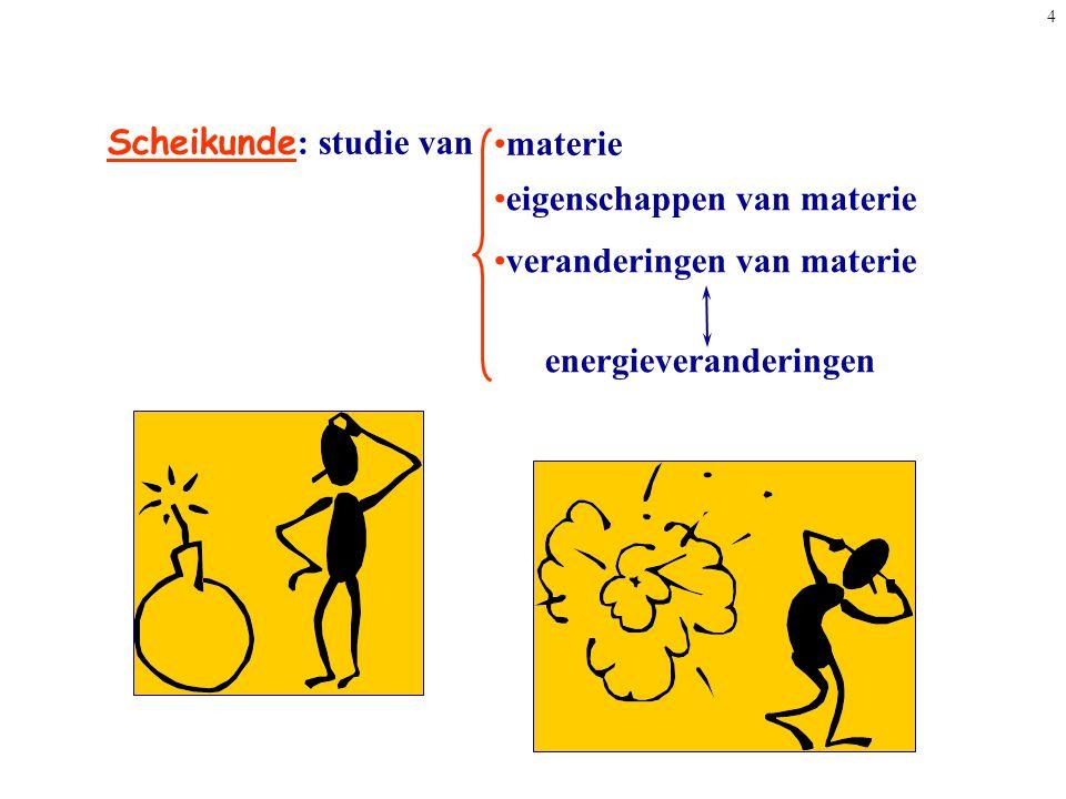 4 Scheikunde : studie van materie eigenschappen van materie veranderingen van materie energieveranderingen