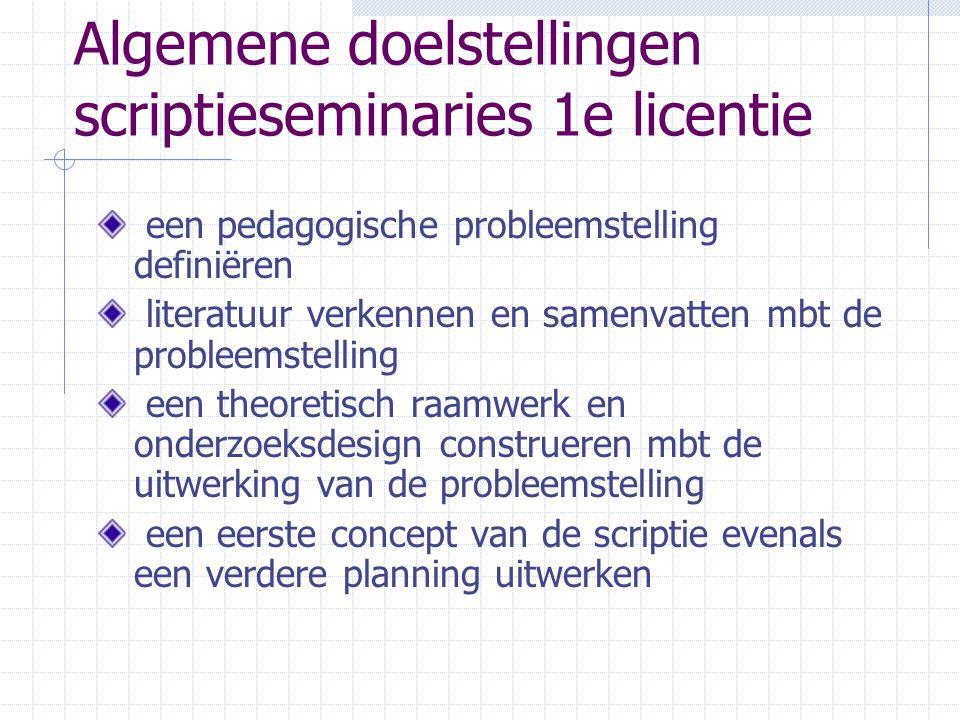 Algemene doelstellingen scriptieseminaries 1e licentie een pedagogische probleemstelling definiëren literatuur verkennen en samenvatten mbt de probleemstelling een theoretisch raamwerk en onderzoeksdesign construeren mbt de uitwerking van de probleemstelling een eerste concept van de scriptie evenals een verdere planning uitwerken